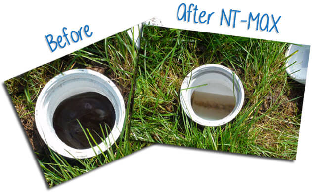 Image showing septic cleanout pipe before and after NT-MAX septic tank treatment